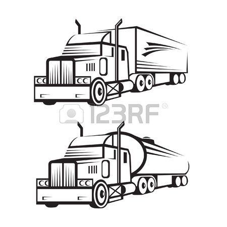 450x450 Monochrome Set Of A Truck With Trailer And Tank Truck Royalty Free