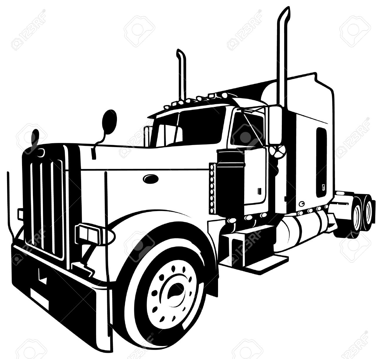 1300x1223 Semi Truck Outline Drawing American Truck Black Outlined