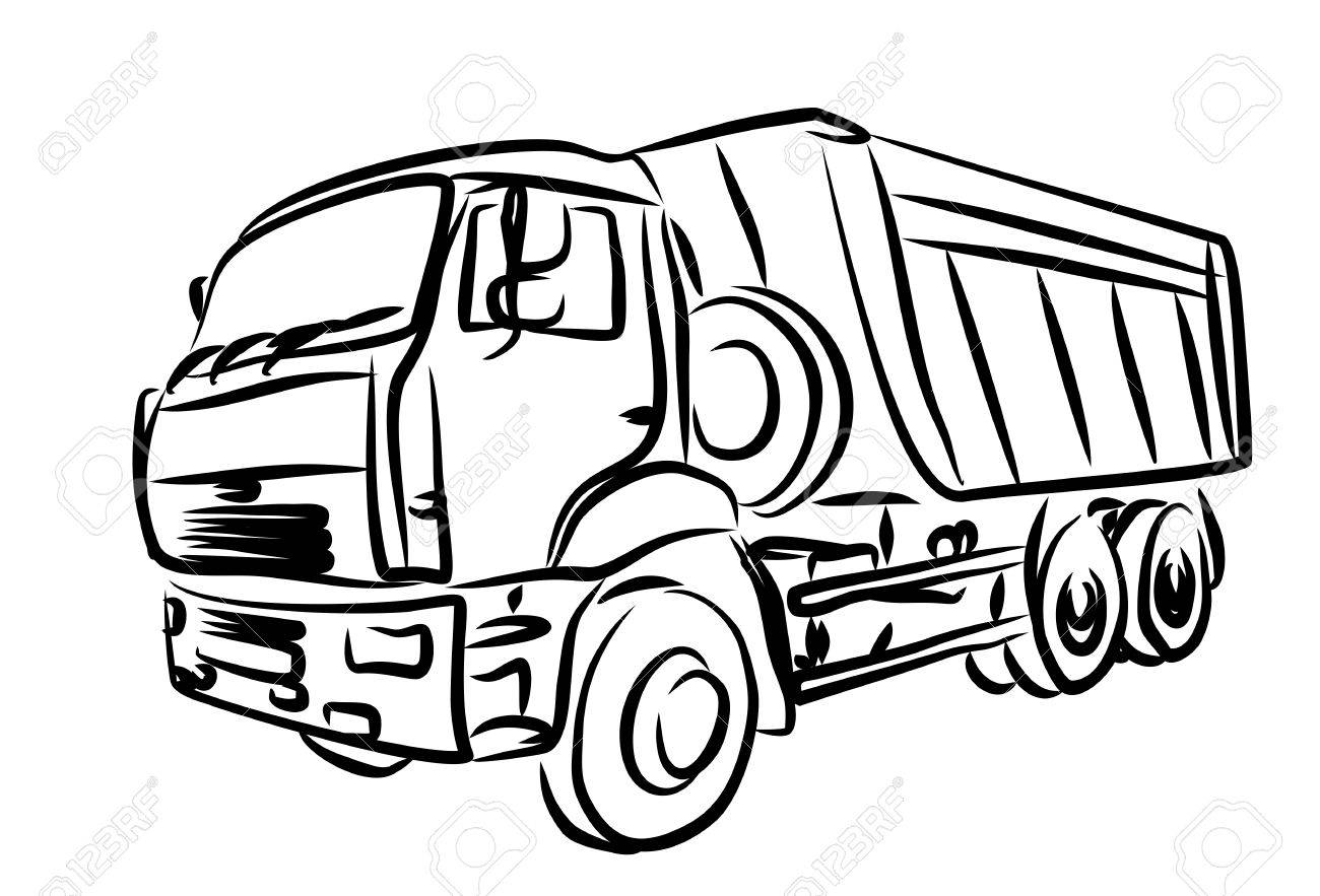 Trailer Truck Drawing at GetDrawings | Free download