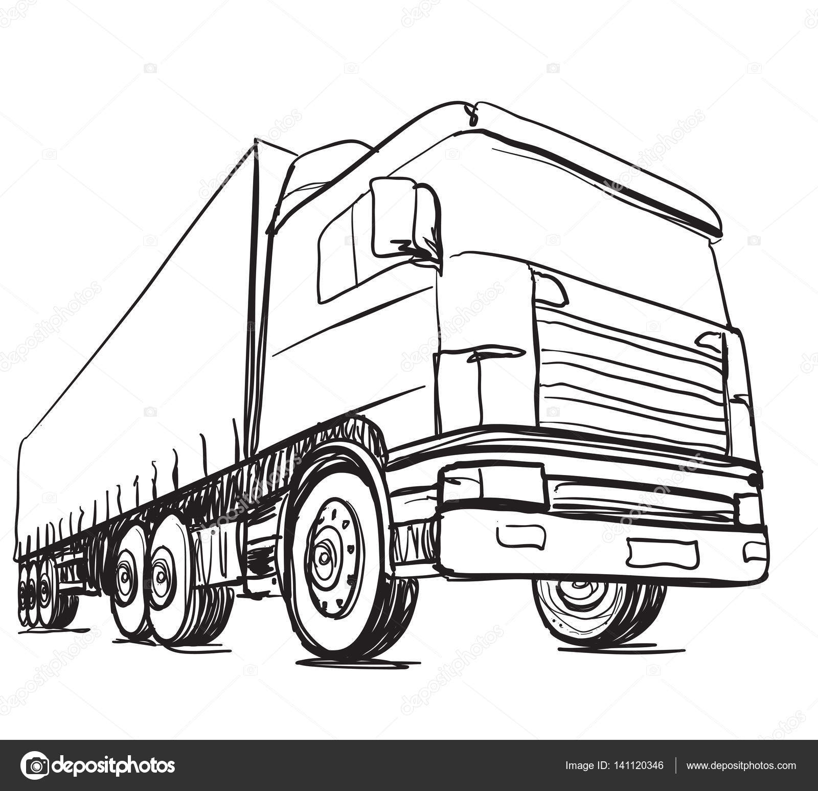 1600x1547 Sketch Logistics And Delivery Poster. Hand Drawn Truck Stock
