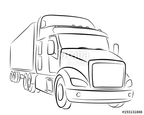 500x399 Sketch Of Big Truck. Stock Image And Royalty Free Vector Files