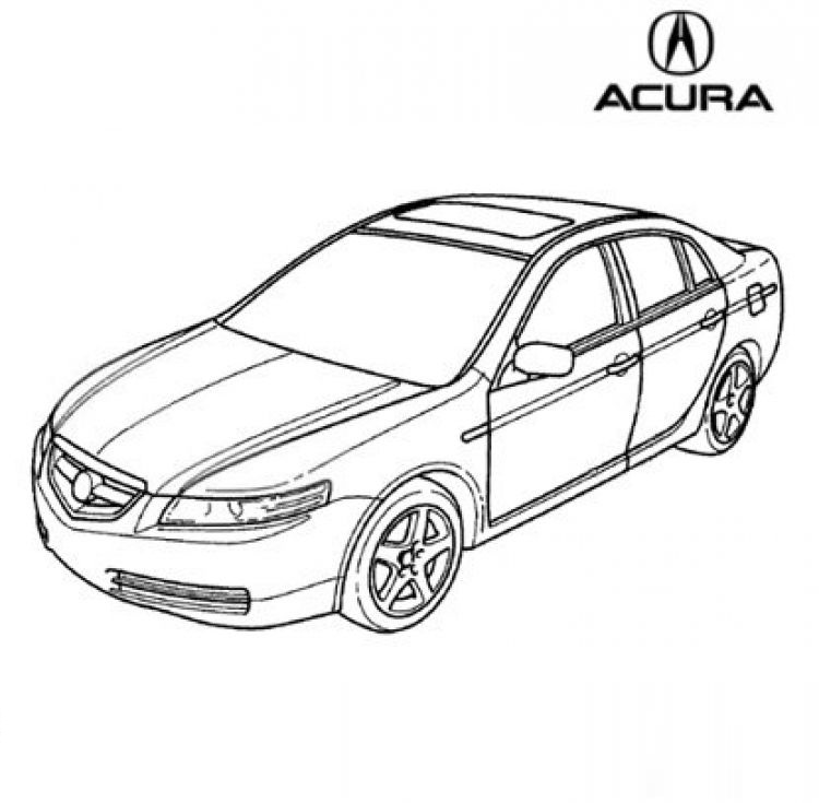 750x735 Coloring Page Of Acura Car For Kids