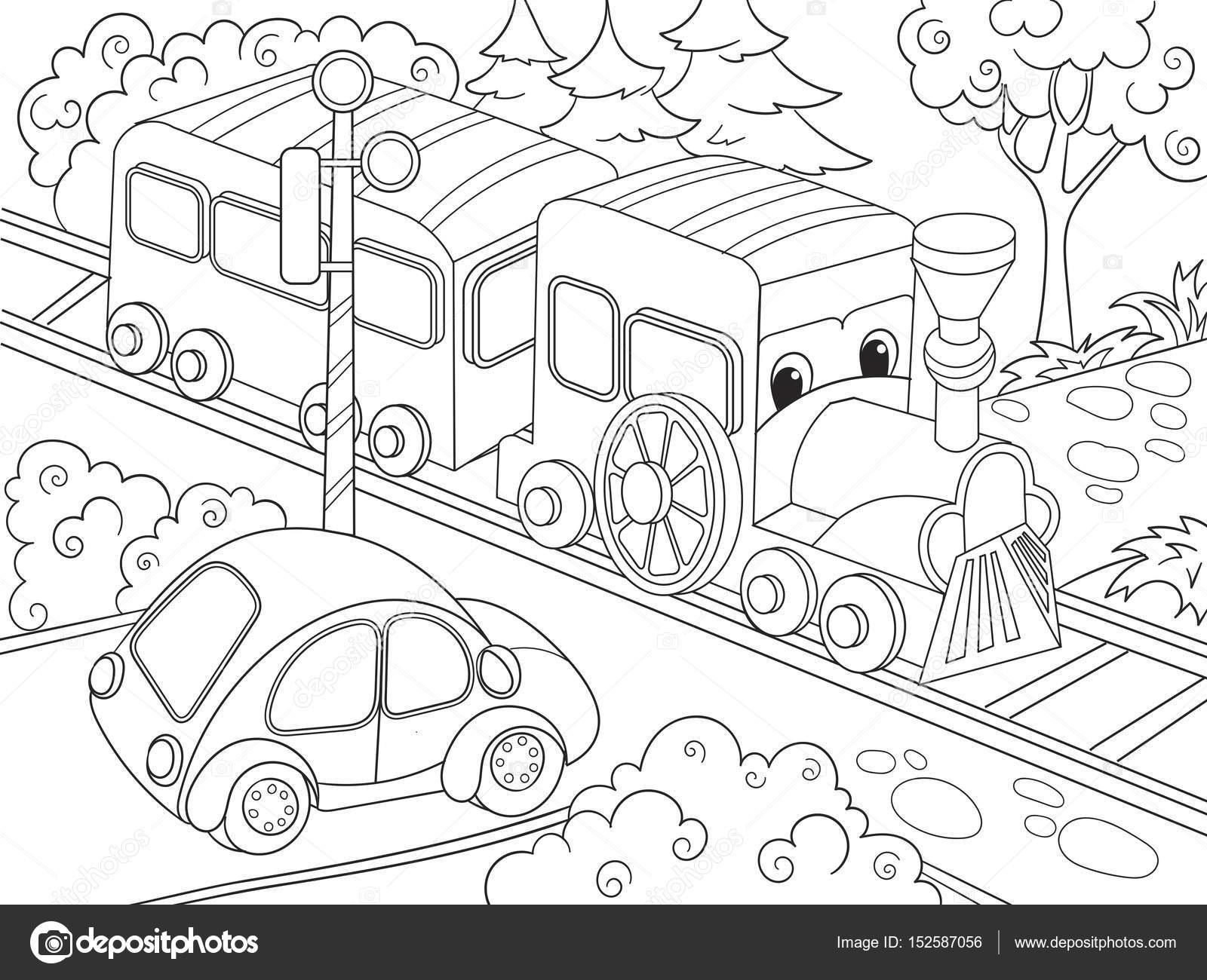 1600x1300 Cartoon Train Train And Car Coloring Book For Children Cartoon