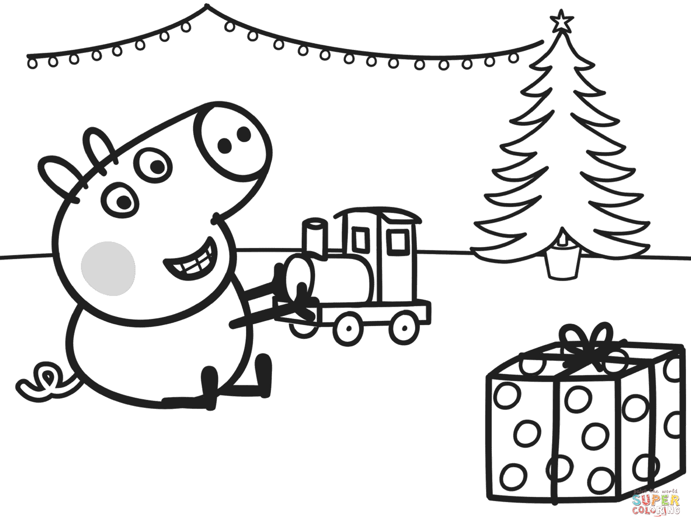 1392x1063 George Plays With Xmas Train Coloring Page Free Printable