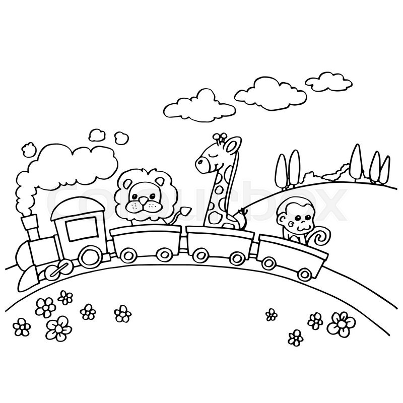 800x800 Image Of Animal Train Coloring Vector Isolated On White Stock
