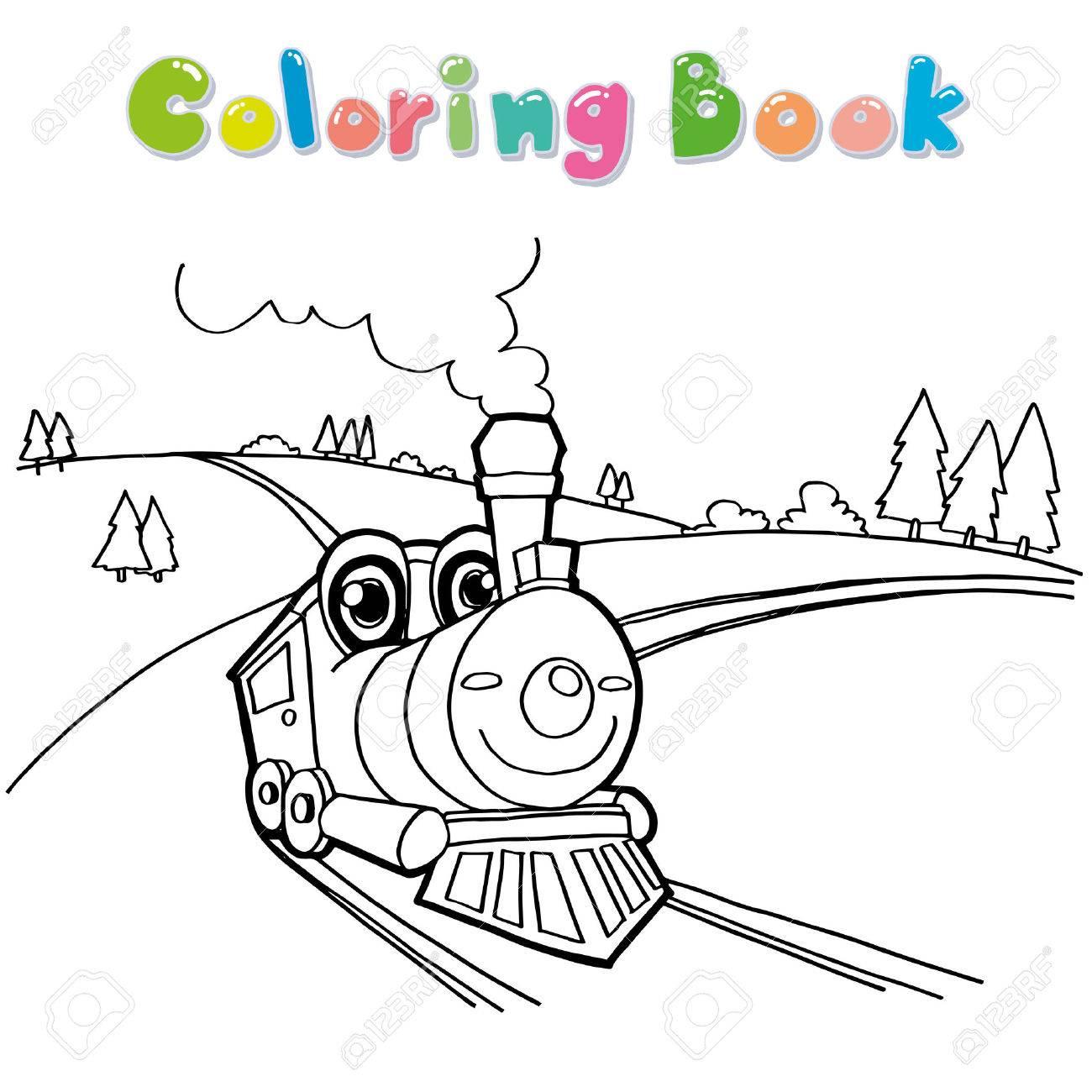 1300x1300 Train Cartoon Coloring Page Vector Royalty Free Cliparts, Vectors