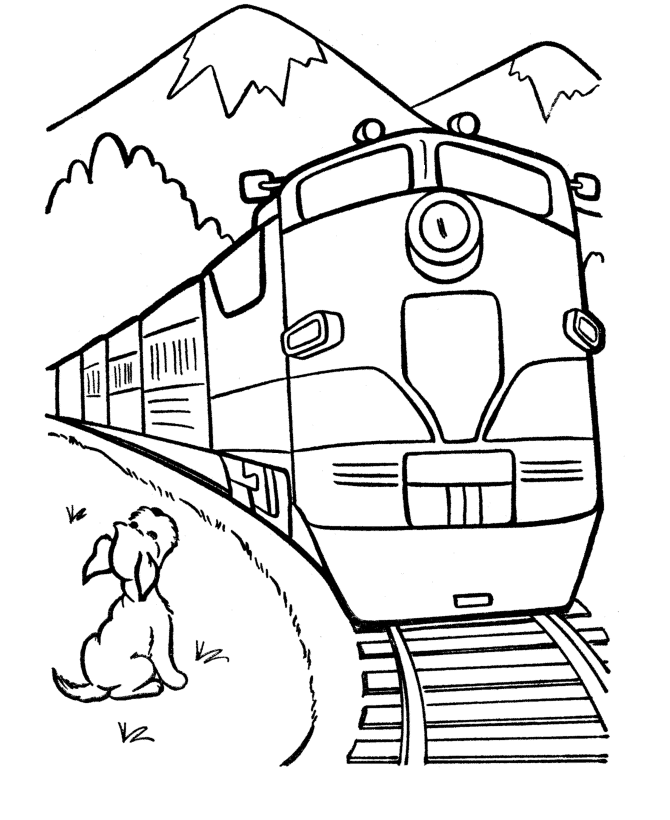 670x820 Trains Crossing The Mountains Coloring Picture For Kids