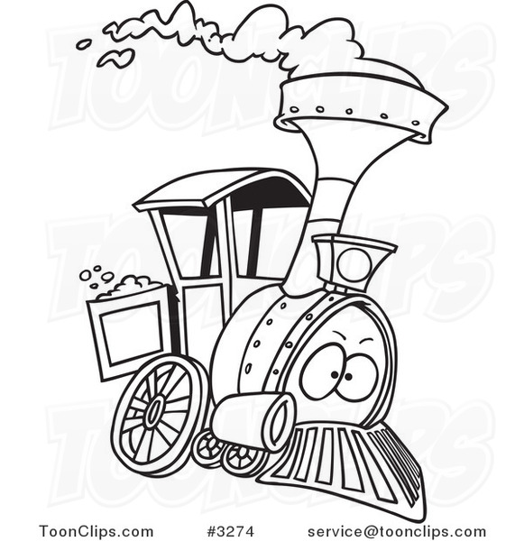 581x600 Cartoon Black And White Line Drawing Of A Steam Engine Train