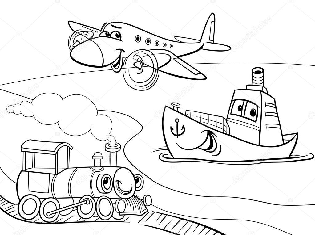 1023x761 Plane Ship Train Cartoon Coloring Page Stock Vector Izakowski