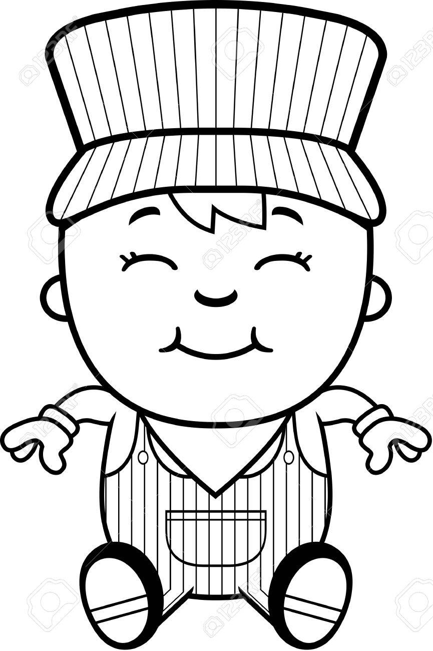 865x1300 A Cartoon Illustration Of A Boy Train Conductor Sitting