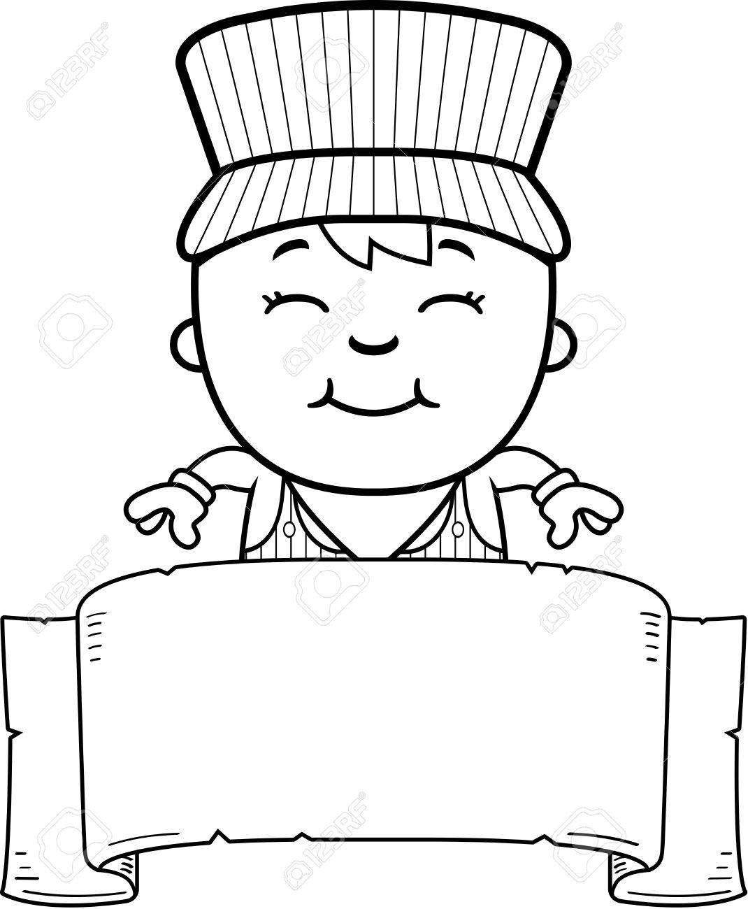 1070x1300 A Cartoon Illustration Of A Boy Train Conductor With A Banner