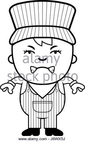 284x470 A Cartoon Illustration Of A Boy Train Conductor Standing