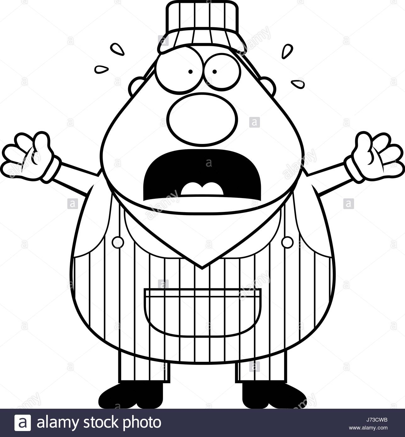 1287x1390 A Cartoon Train Conductor Worried And Panicking Stock Vector Art