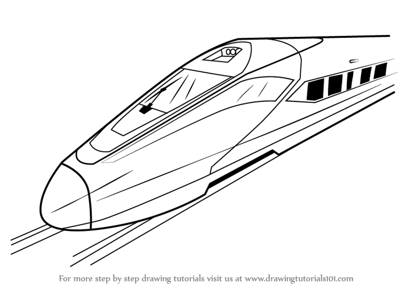 800x566 Learn How To Draw A High Speed Electric Train (Trains) Step By