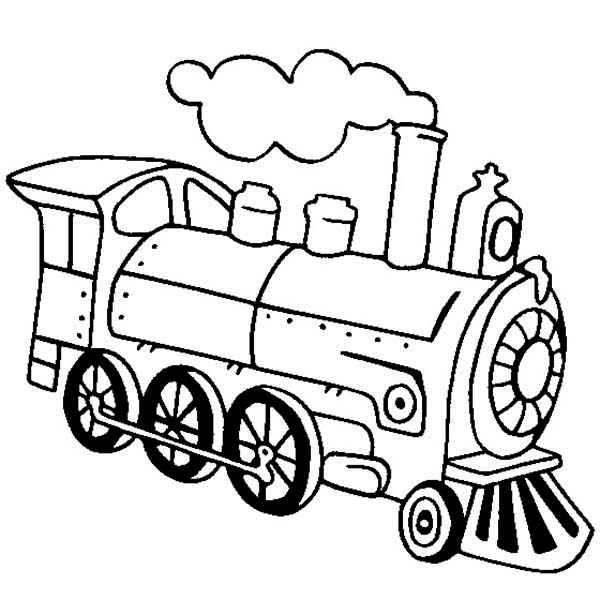 600x600 Locomotive Of Steam Train Coloring Page