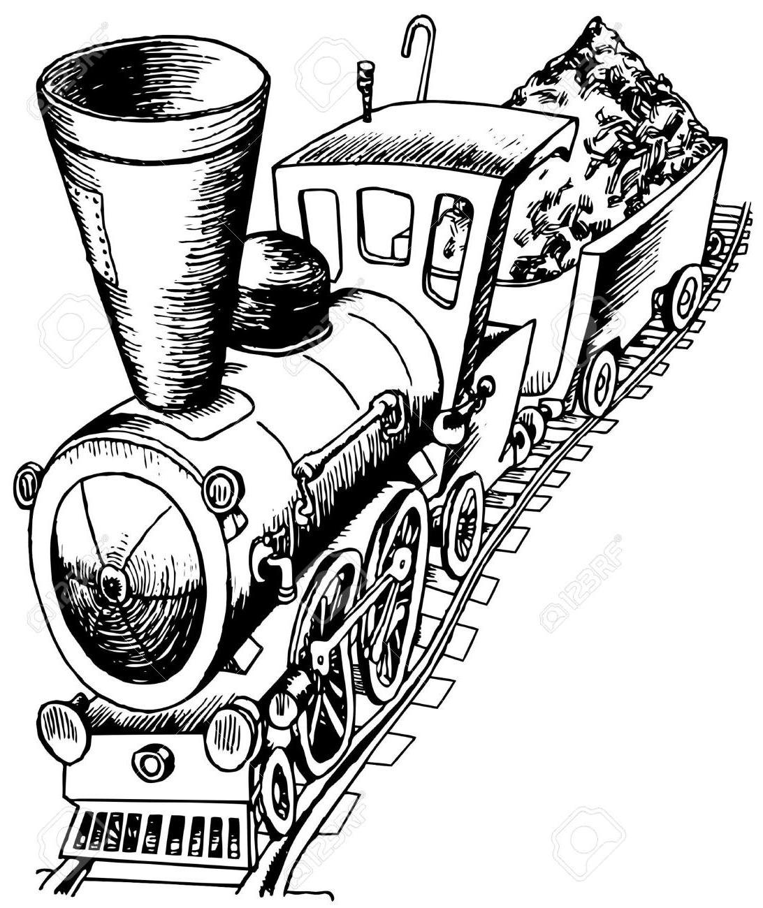1092x1300 Unique Heavy Railroad Engine Stock Vector Train Cartoon Steam Drawing