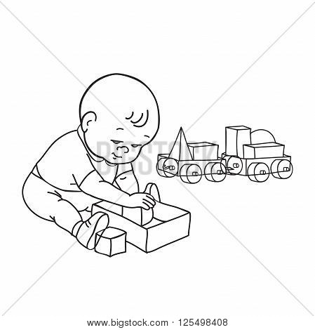 449x470 Little Lovely Baby Boy Playing Vector Amp Photo Bigstock