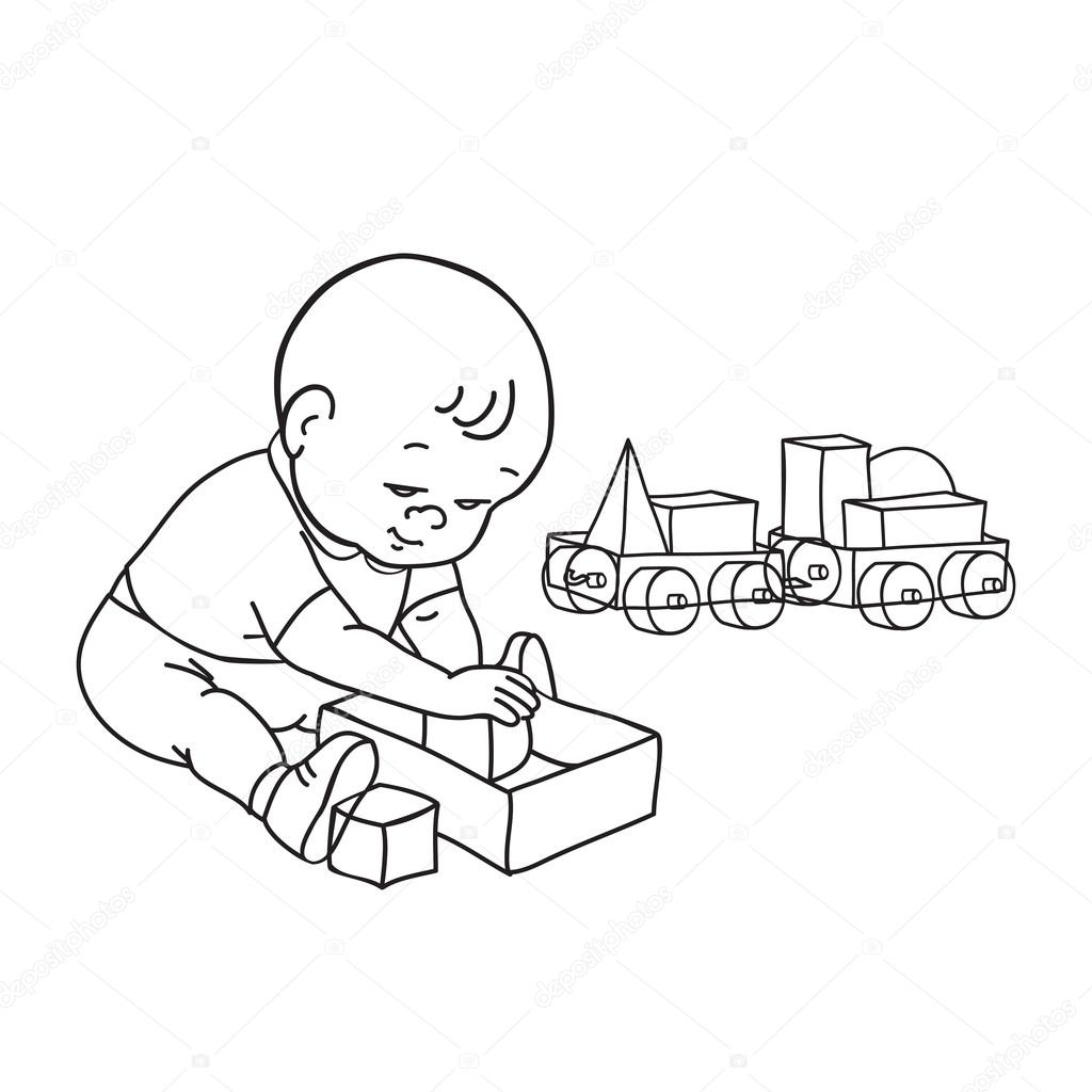 1024x1024 Little Lovely Baby Boy Playing Toys. Kid Plays