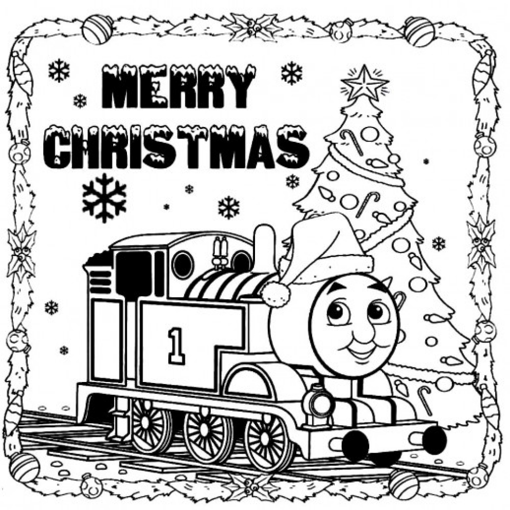 1024x1024 Thomas The Train Saying Merry Christmas To You Coloring Pages