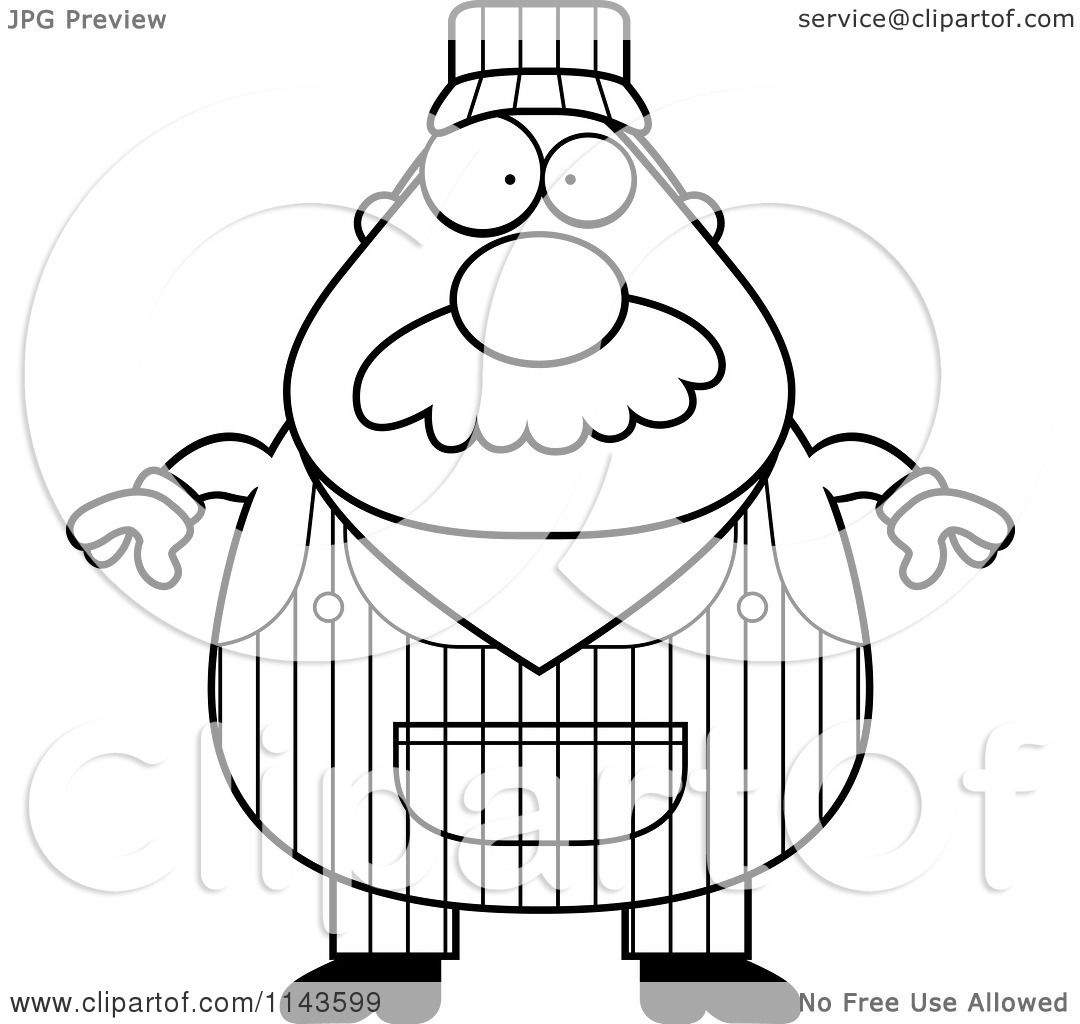 1080x1024 Cartoon Clipart Of A Black And White Train Engineer
