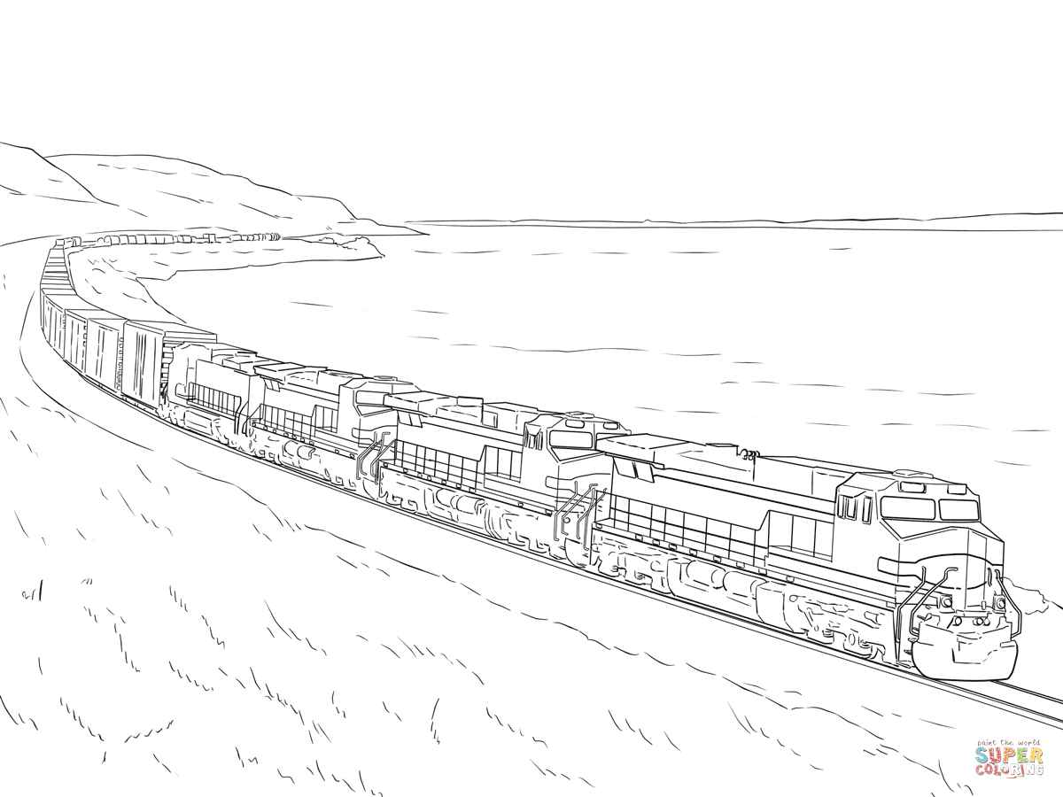 1200x900 Freight Train Coloring Page Coloring For Kids