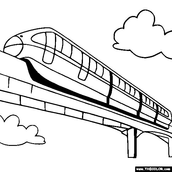 560x560 Monorail Coloring Page Monorail Train Coloring Edison