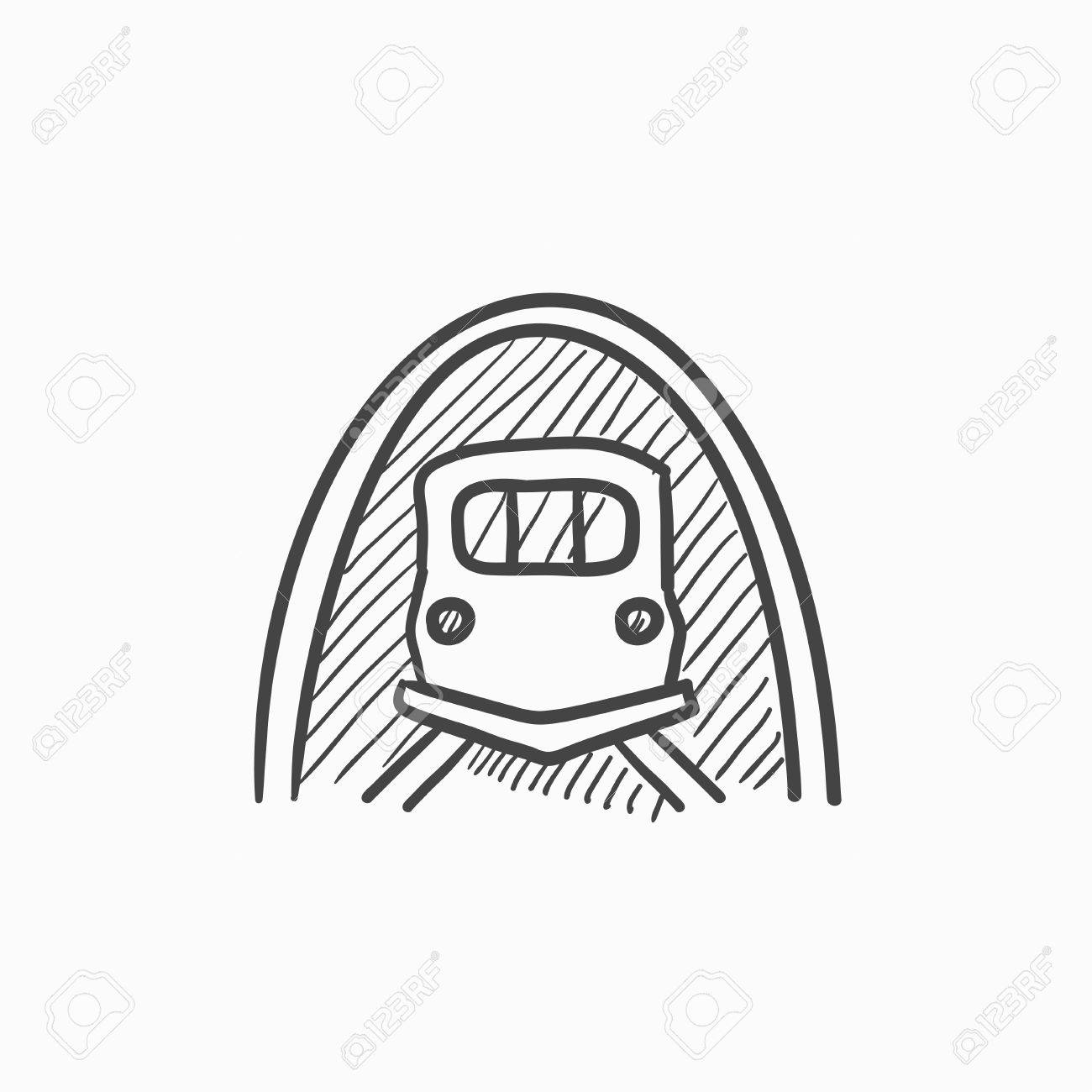1300x1300 Railway Tunnel Vector Sketch Icon Isolated On Background. Hand
