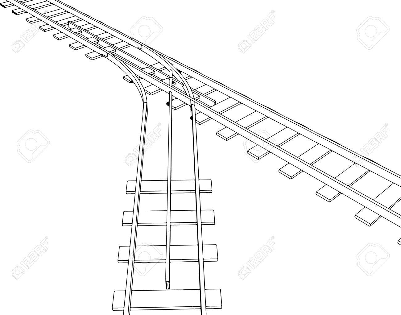 1300x1021 Vector 2d 3d Railway, Railroad Track Sketch. On White 5 Royalty