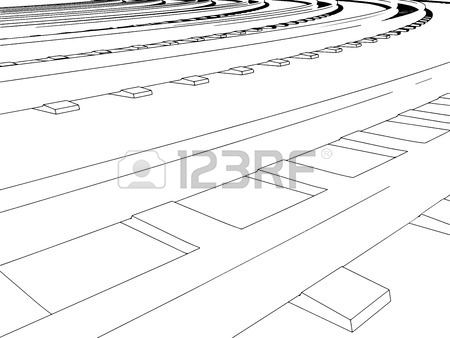 450x338 Vector Curved Endless Train Track. Sketch Of Curved Train Track