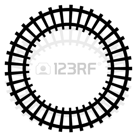450x450 Curving Train Track, Rail Track Silhouette Isolated Royalty Free
