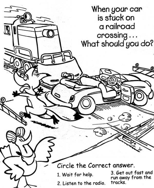 600x734 Car Stuck On A Railroad Coloring Page Color Luna