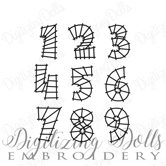 570x570 Train Track Number Set Machine Embroidery Design Numbers 0 9