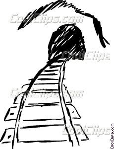 230x300 Train Tracks Leading Into A Vector Clip Art