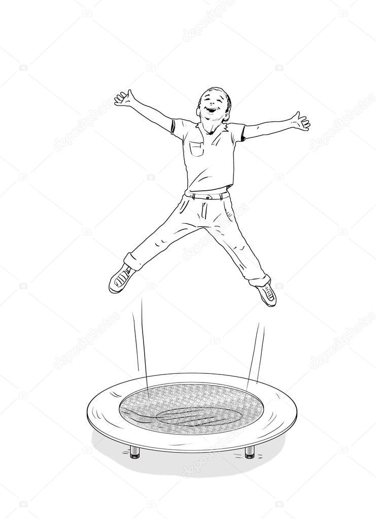 741x1023 Kids. Children Jumped. Trampoline. Kids Silhouettes. Action Sport