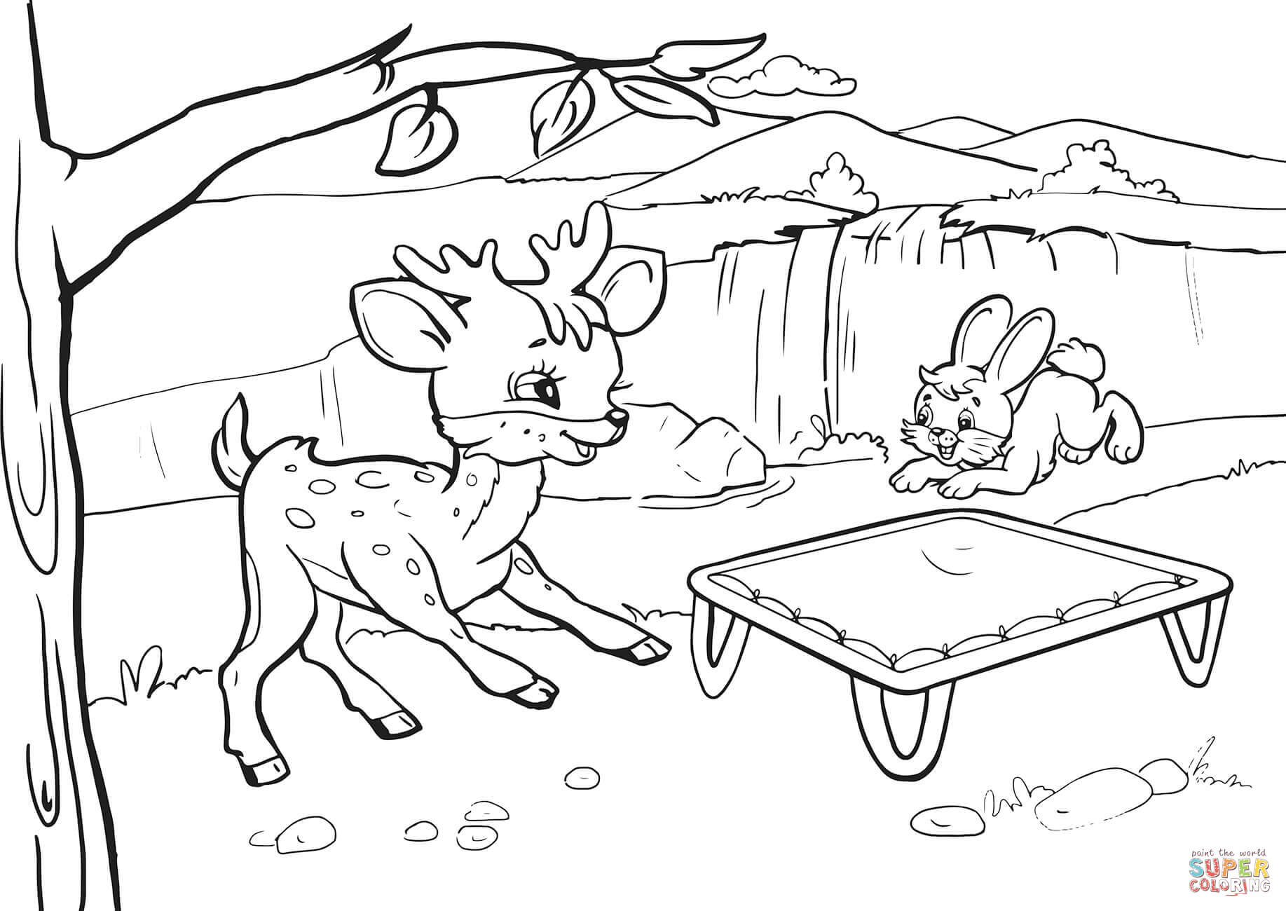 1835x1300 Rabbit And Deer Are Bouncing On A Trampoline Coloring Page Free