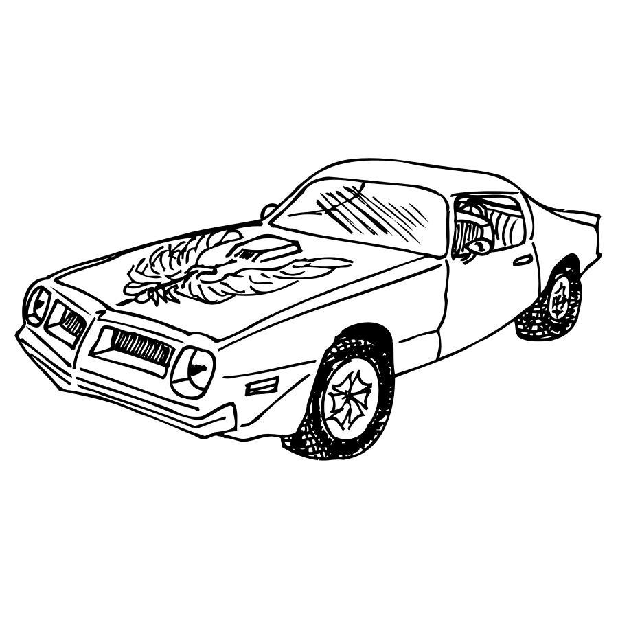 900x900 Trans Am Car Drawing By Karl Addison