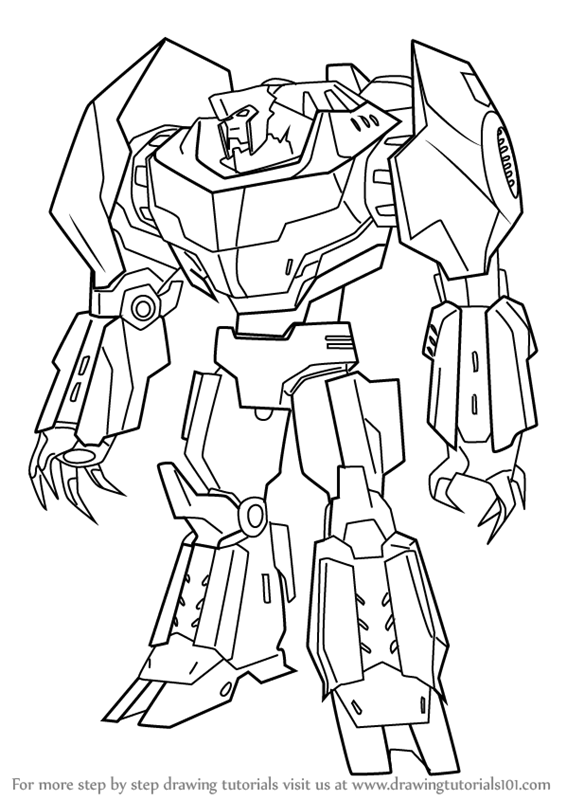 566x800 Learn How To Draw Grimlock From Transformers (Transformers) Step