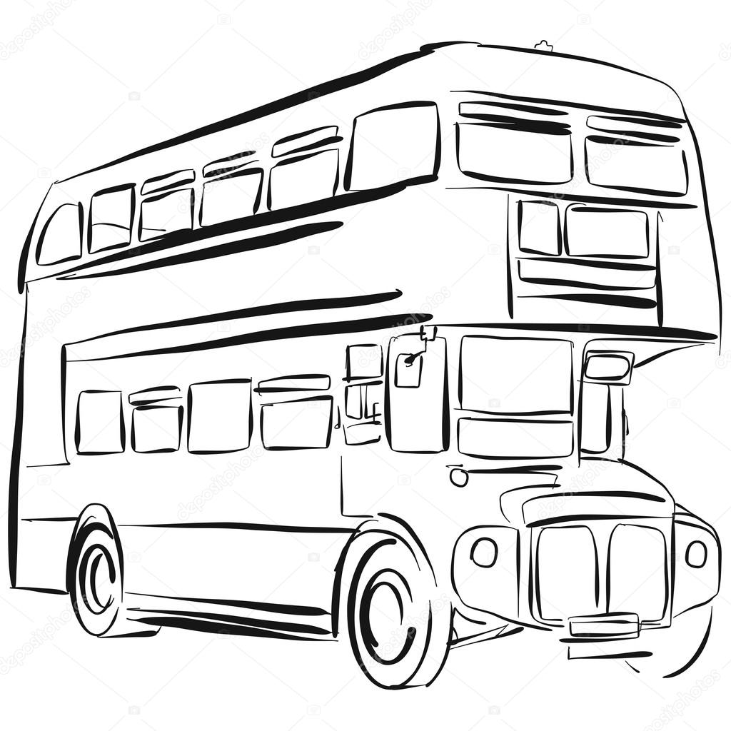 1024x1024 London Bus Vector Drawing Stock Vector
