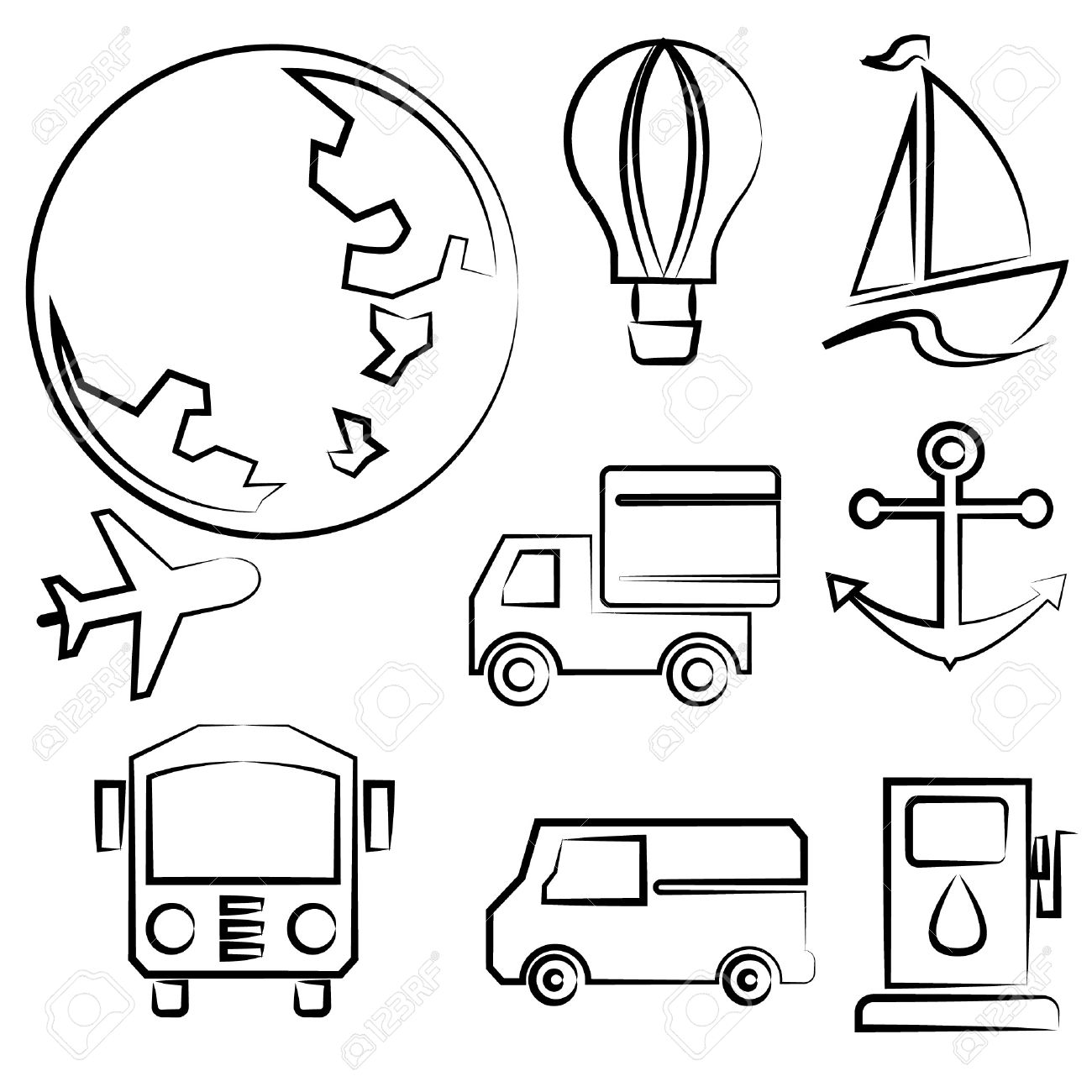 1300x1300 Transportation And Travel Drawing Line Set, Sketch Line Royalty