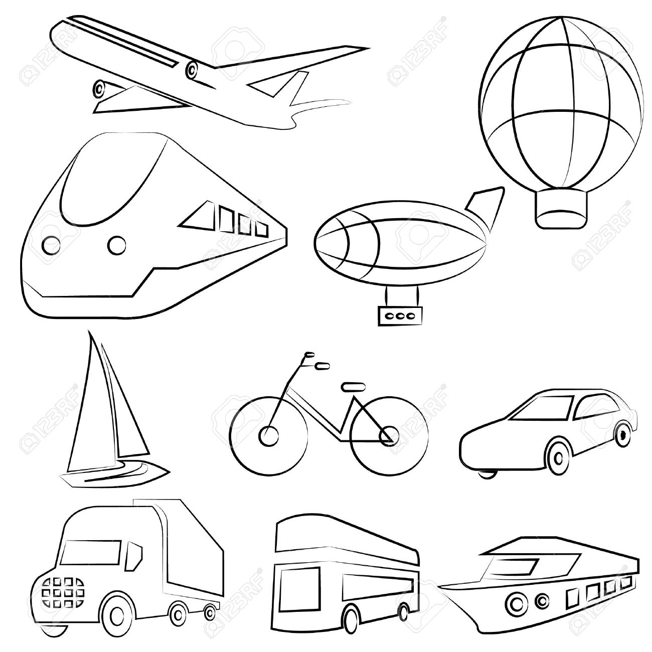 1300x1300 Transportation Drawing Line Set Royalty Free Cliparts, Vectors