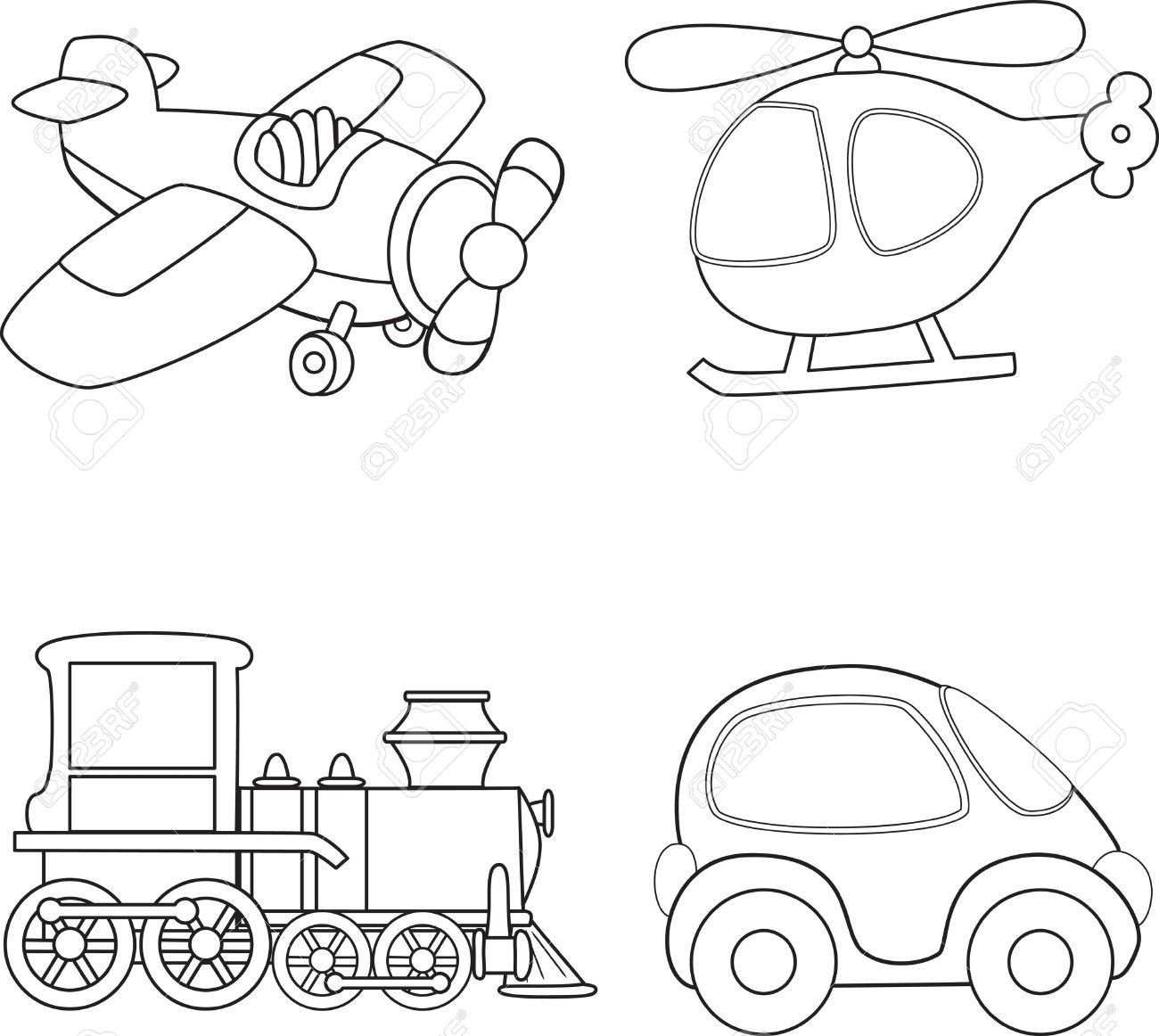 1300x1162 Cartoon Transport. Coloring Book. Royalty Free Cliparts, Vectors