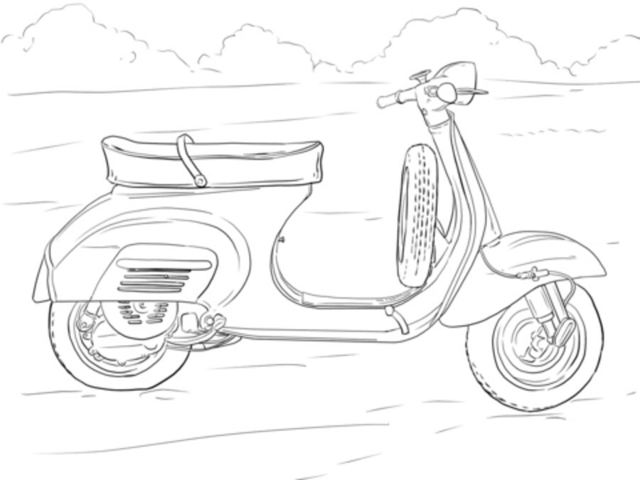 900x675 Coloring Pages Scooter, Printable For Kids Amp Adults, Free