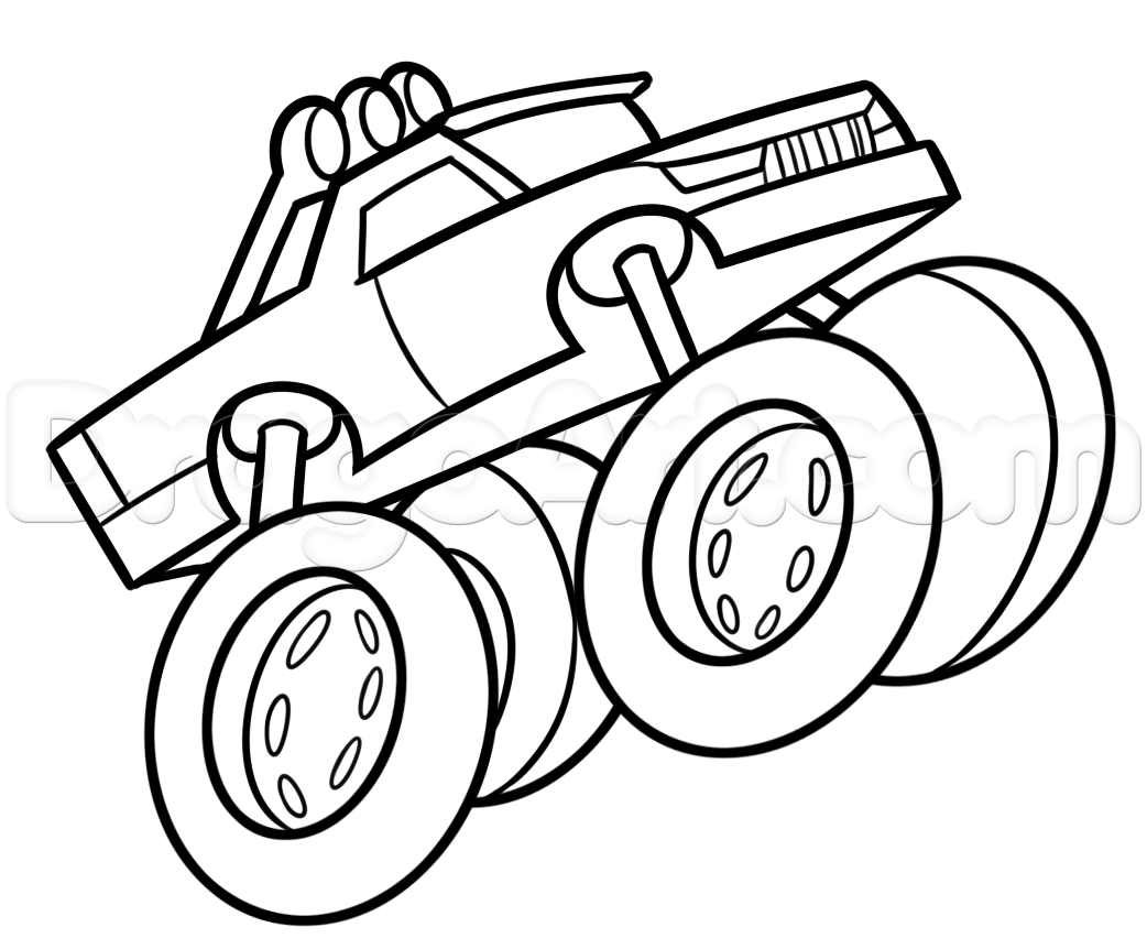 1042x862 Drawing Of A Monster Drawing A Monster Truck Easy, Stepstep