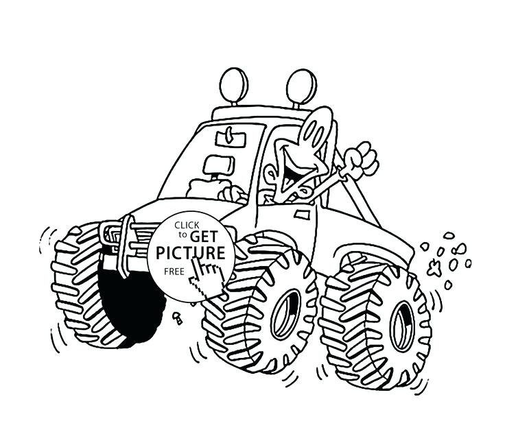 736x630 Monster Truck Coloring Pages To Print Plus Funny Little Monster