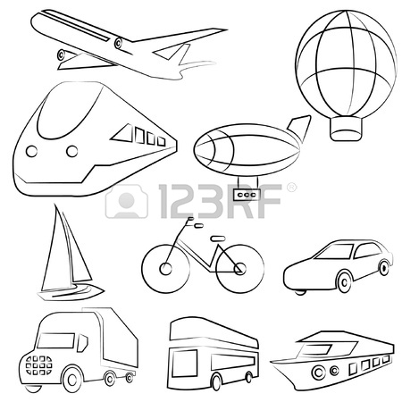 450x450 Transportation Drawing Line Set Royalty Free Cliparts, Vectors