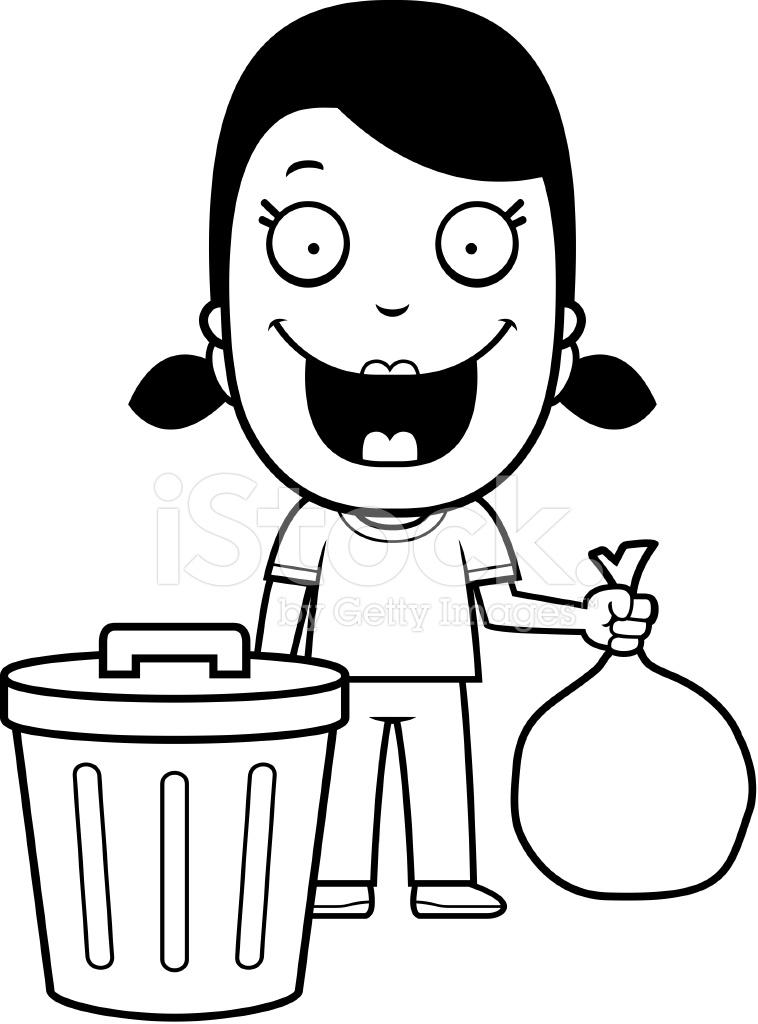 758x1024 Cartoon Girl Trash Stock Vector