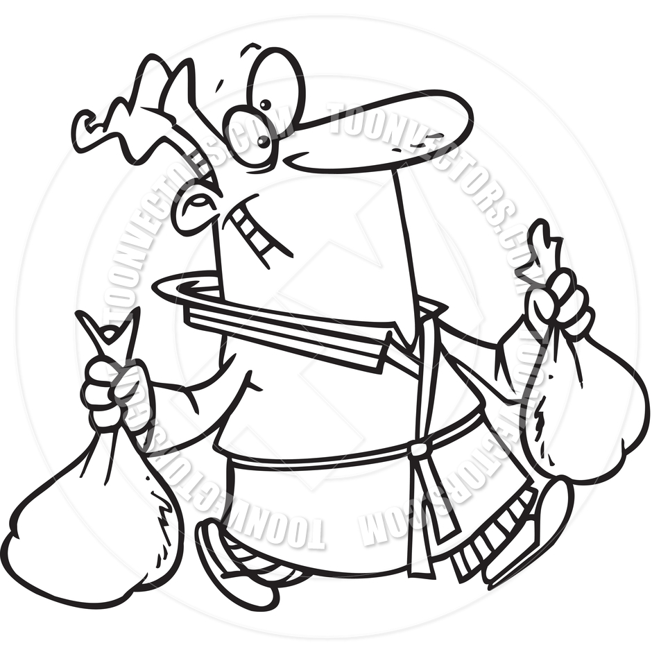 940x940 Cartoon Man Carrying Trash Bags (Black And White Line Art) By Ron