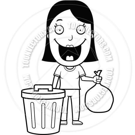 460x460 Cartoon Woman Trash (Black And White Line Art) By Cory Thoman