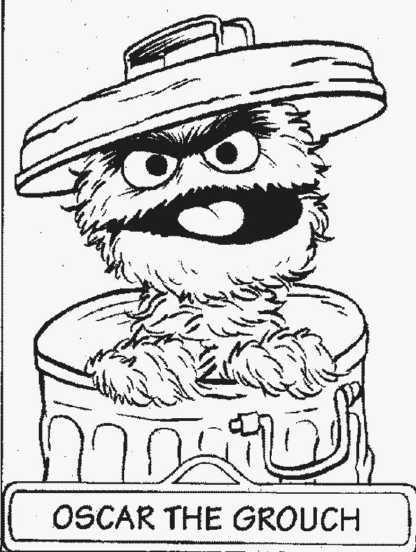 600x796 Oscar The Grouch Clipart Black And White