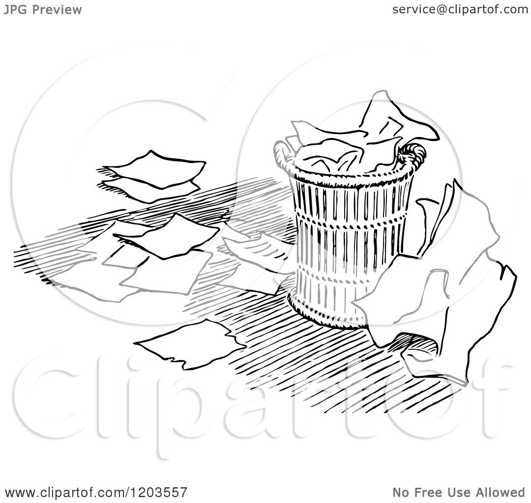 1080x1024 Cartoon Of A Vintage Black And White Over Flowing Trash Can